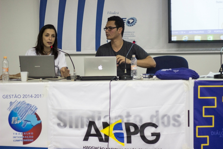 Diretora de Comunicação, Gabrielle Paulanti, e  Tesoureiro da ANPG, Igor Dias, expõem o trabalho realizado até então e as metas desta gestão, em suas respectivas pastas.